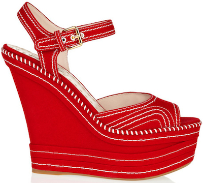 Miu Miu Red canvas platform wedge