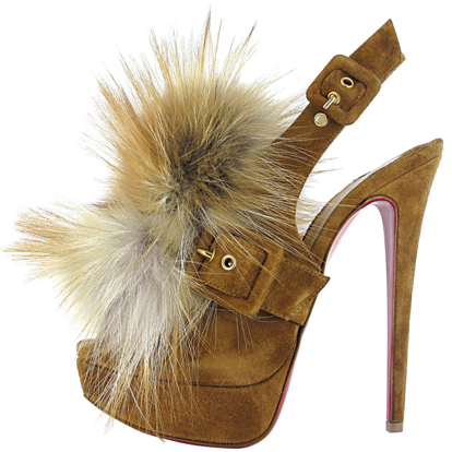 Louboutin Fall 2011 Splash Fur embellished platform slingback