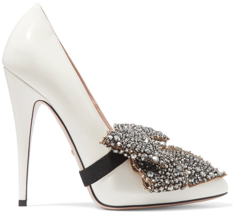 Gucci bow-embellished patent-leather pumps