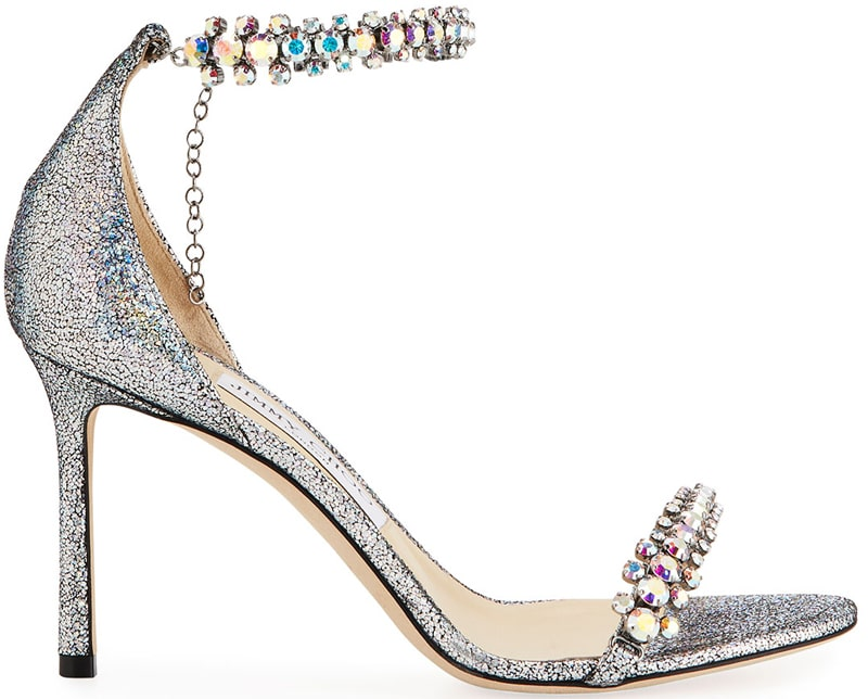 a6442ff08955 Jimmy Choo Shiloh holographic and crystal embellished sandals.