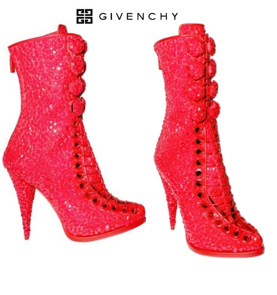 Givenchy Sequined Embroidered Boots