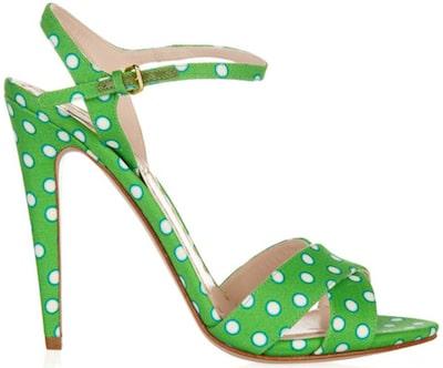 Miu Miu green canvas sandal