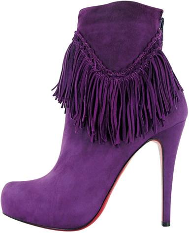 Christian Louboutin Fall 2011 purple suede fringe boot