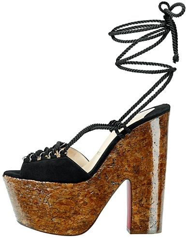 Christian Louboutin cork platform sandal with ankle wrap Fall 2011