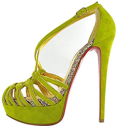 Christian Louboutin green suede glitter pump Fall 2011