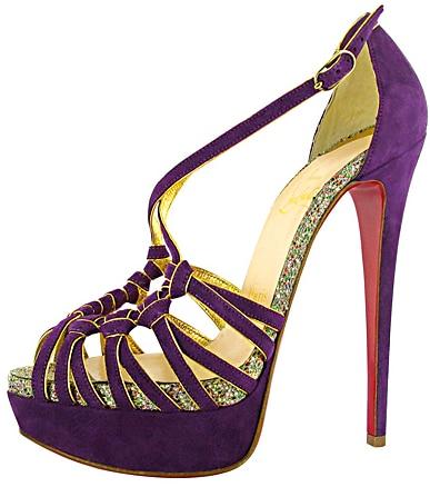 Christian Louboutin purple suede glitter pump Fall 2011
