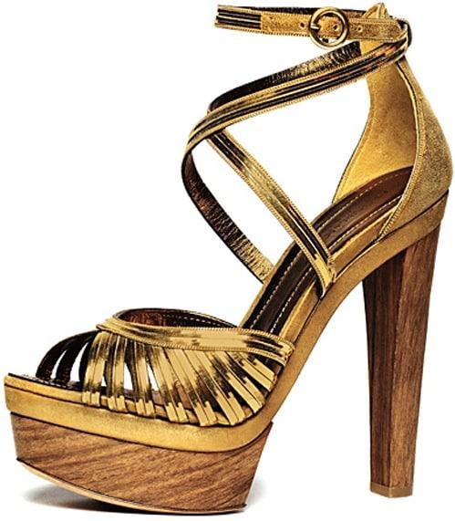 Donna-Karan-Metallic-Gold-Platform-Sandal