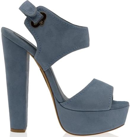 Elie Saab cutout blue suede platform sandals