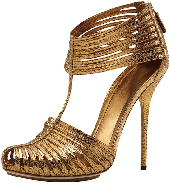 Gucci Inga metallic gold strappy sandal