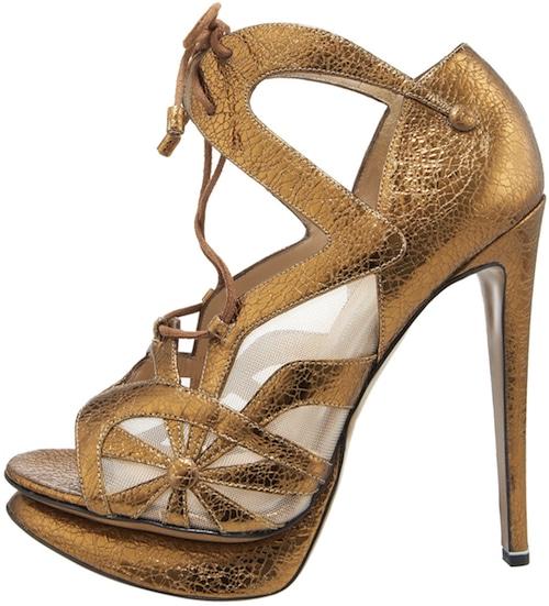 NIcholas Kirkwood metallic gold platform sandal