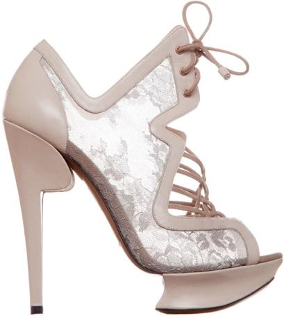 Nicholas Kirkwood Lace-Up Lace Platform Sandal