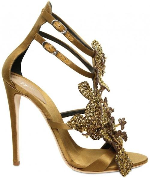 Giuseppe Zanotti Gold Silk & Crystal Sandal Fall 2011