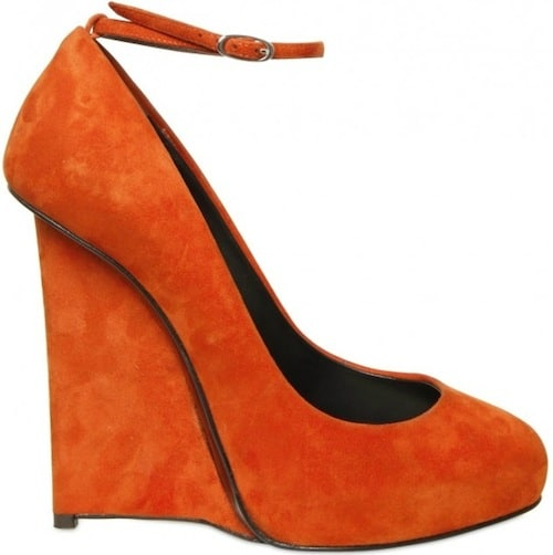 Giuseppe Zanotti orange suede wedge Fall 2011
