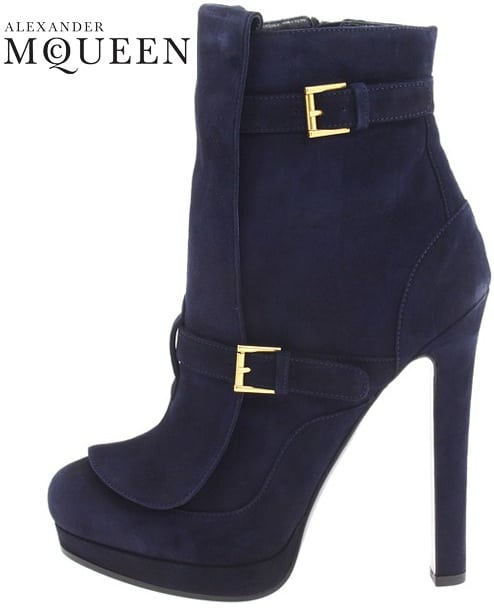 Alexander McQueen Navy suede buckled punk boot;