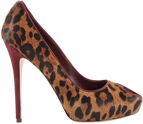 leopard print pony skin pump with heart shaped peep-toe-