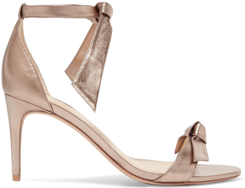 Alexandre Birman Clarita bow-embellished metallic leather sandals
