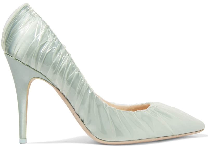 Jimmy Choo + Off-White Anne 100 PVC-wrapped satin pumps