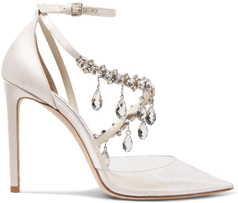 Jimmy Choo + Off-White Victoria crystal-embellished satin and vinyl pumps