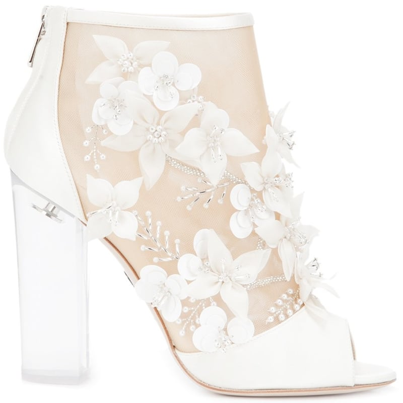 Paul Andrew Bijoux embellished white and beige silk booties