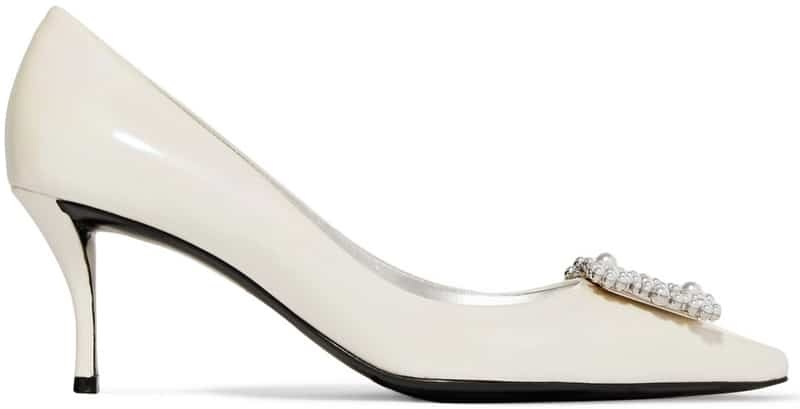 Roger Vivier Sin Flower faux pearl-embellished iridescent patent-leather pumps