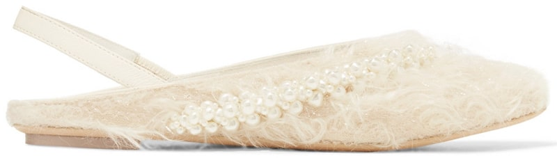 Simone Rocha embellished metallic faux shearling and leather slingback flats