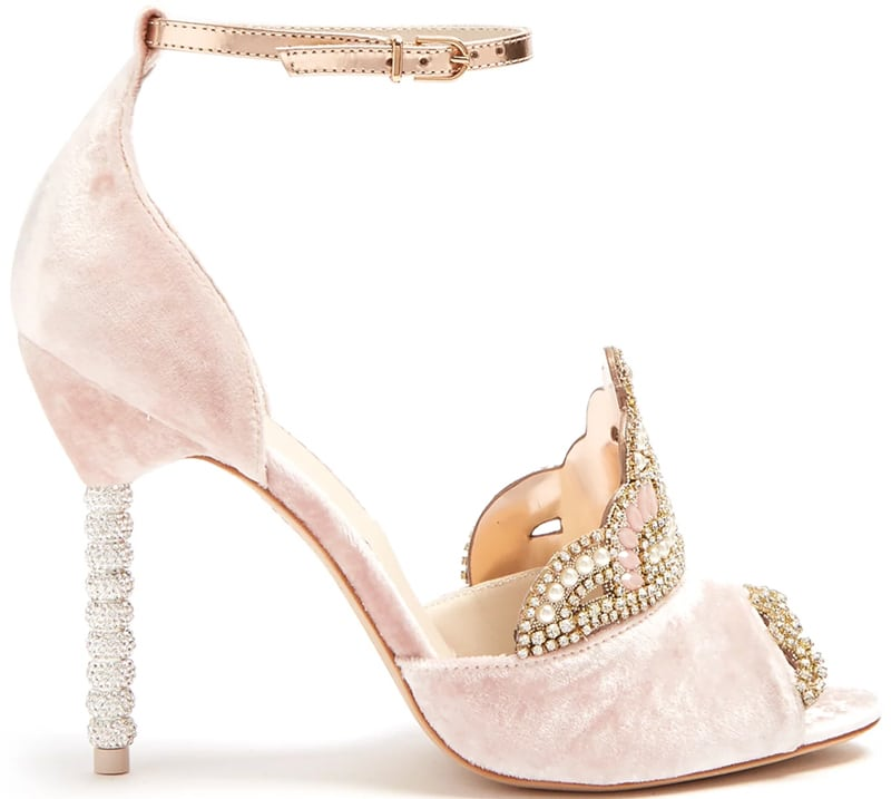 sophia Webster Royalty embellished tiara-front velvet sandals