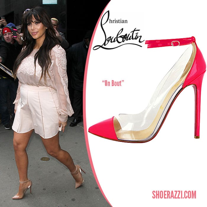 7d8a65f10a4 Kim Kardashian in Christian Louboutin Un Bout Pumps - Shoerazzi