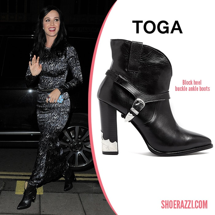 Toga-Block-Heel-Buckle-Ankle-Boots-Katy-Perry