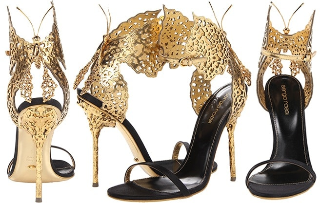 Sergio-Rossi-butterfly-sandal-gold-black-satin