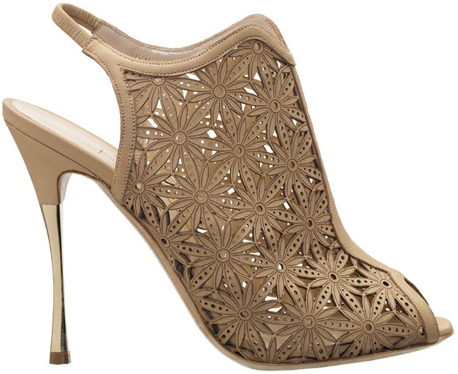 Nude laser cut leather peep-toe slingback bootie