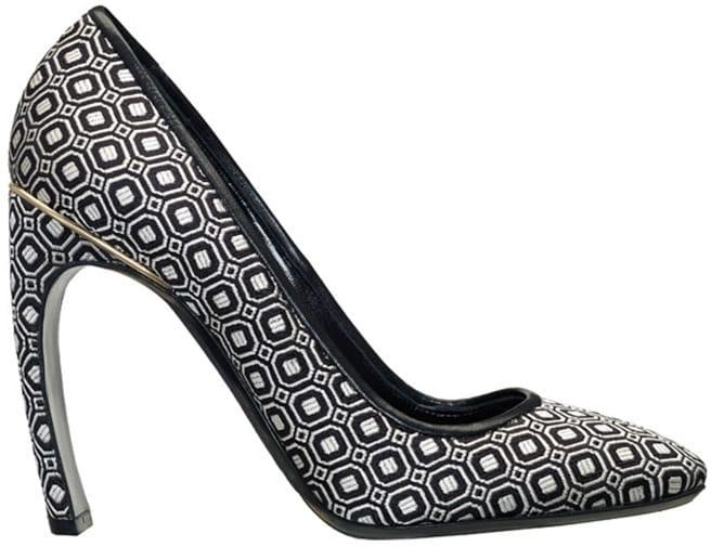 Nicholas Kirkwood Silk jacquard curved heel pointed-toe pump
