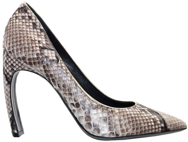 Nicholas Kirkwood curved heel snakeskin pump