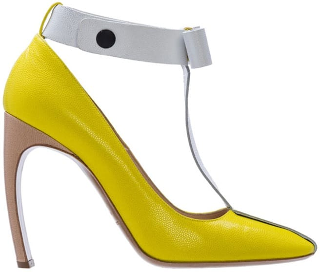 Nicholas Kirkwood for Roksanda Ilincic t-strap pump yellow leather Spring 2014
