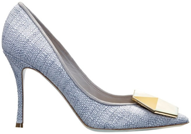 Grey raffia pointed toe pump hexagon Nicholas Kirkwood
