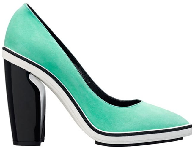 Nicholas Kirkwood green suede pointed toe pump