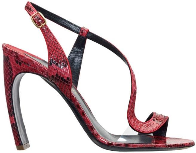 Nicholas Kirkwood red snakeskin sandal
