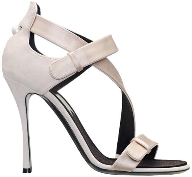 Nicholas Kirkwood nude silk satin sandal