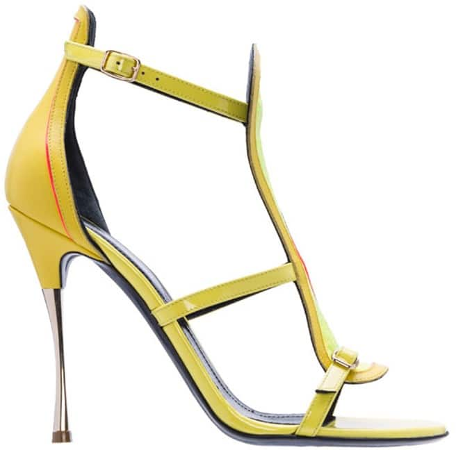 Nicholas Kirkwood yellow t-strap sandal leather Spring 2014