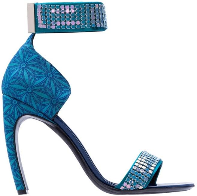 Nicholas Kirkwood blue embellished ankle strap sandal