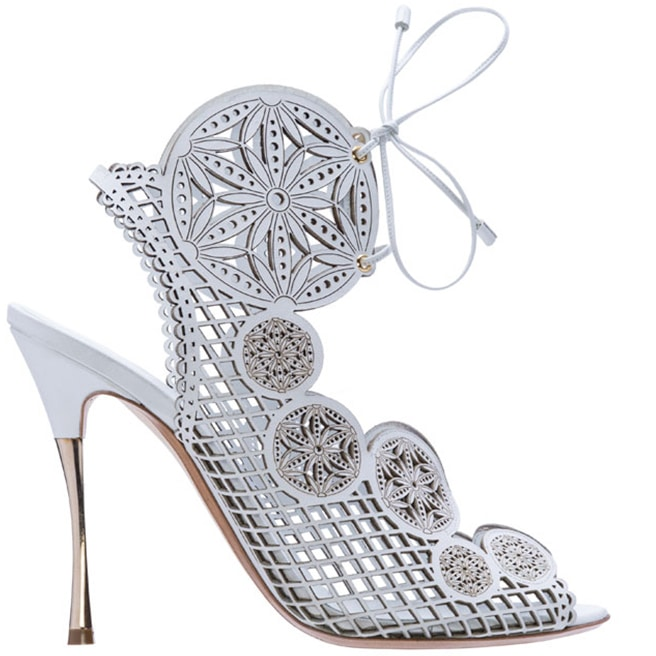 Nicholas Kirkwood white laser cut leather sandal Spring 2014