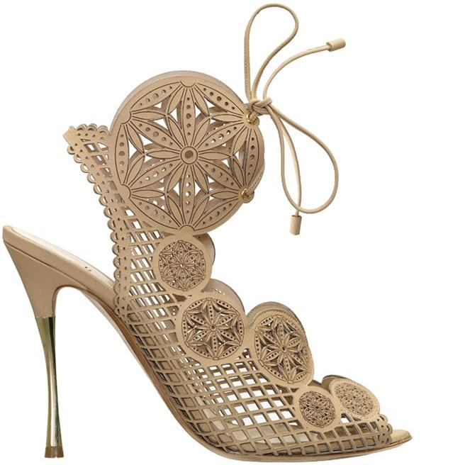 Nicholas Kirkwood nude laser cut leather Spring 2014 sandal