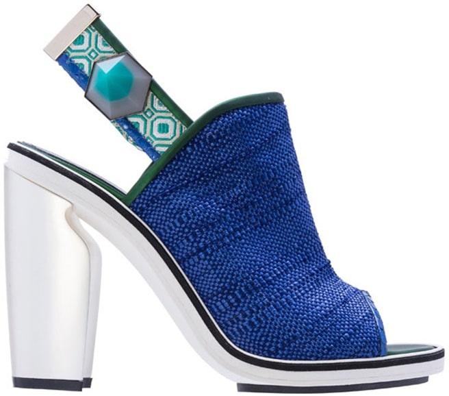 Nicholas Kirkwood blue raffia slingback bootie
