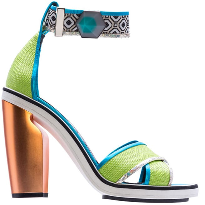 Nicholas Kirkwood green and blue ankle strap sandal