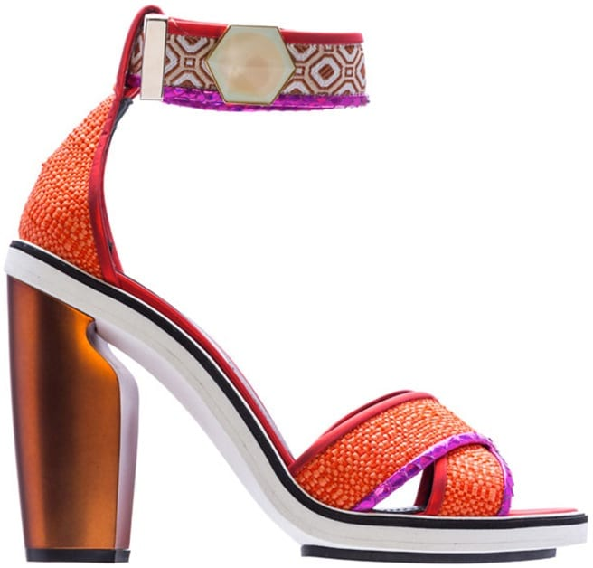 Nicholas Kirkwood orange raffia ankle strap sandal