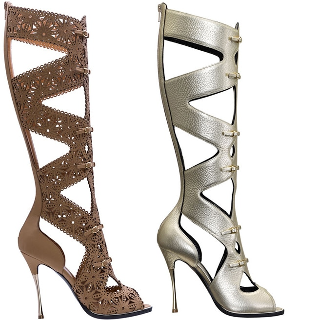 Nicholas Kirkwood nude laser cut leather gladiator sandal