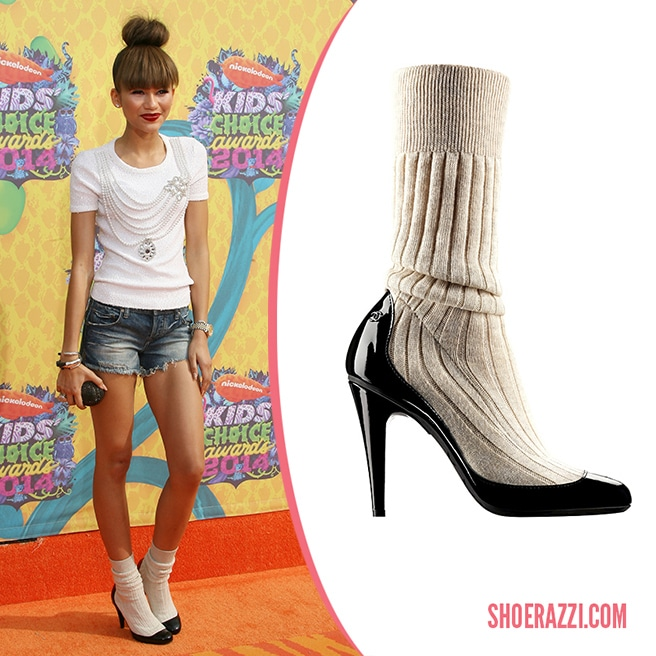Zendaya In Chanel Spring 2014 Patent Leather Amp Cotton Sock