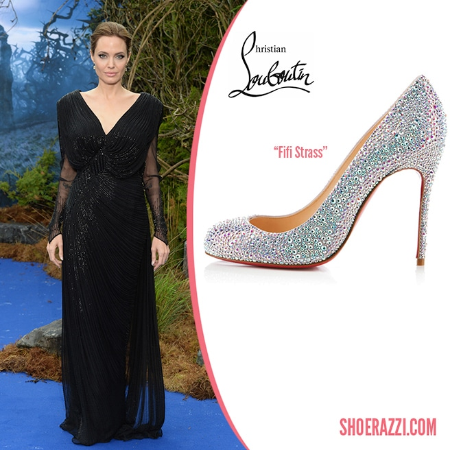 best authentic 28e66 4b6ca Angelina Jolie in Christian Louboutin Fifi Strass Crystal ...