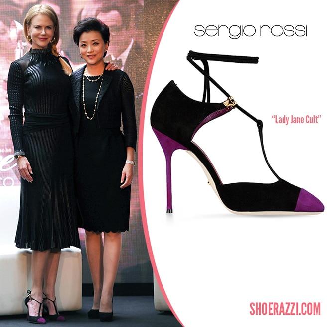 5c14c03b4a1 Nicole Kidman in Sergio Rossi Lady Jane Cult Black Suede Ankle-Wrap ...