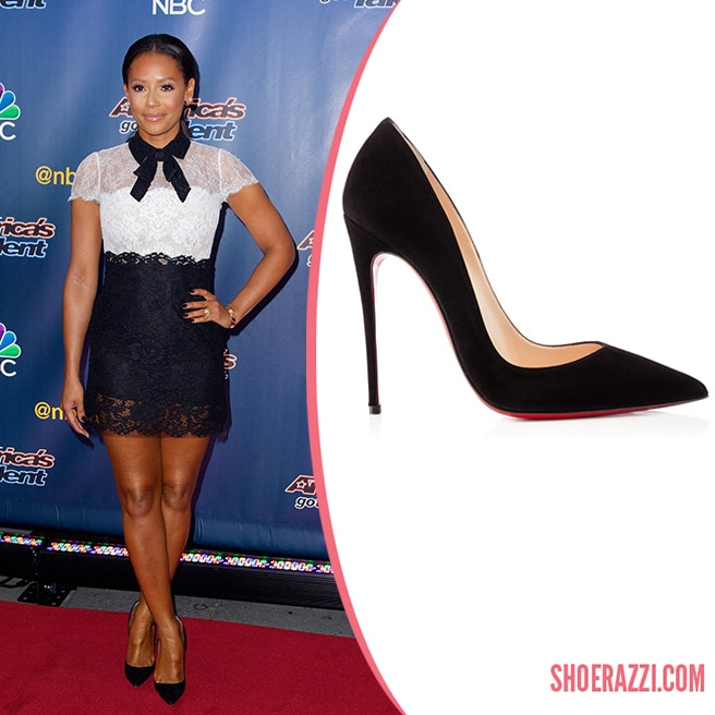 Celebrity Nursery Design Reveal Mel B: Mel B. In Christian Louboutin So Kate Black Suede Pointed