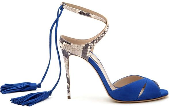 Casadei-blue-suede-snakeskin-ankle-wrap-sandal-Spring-2016
